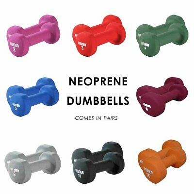 PAIR Neoprene Dumbbell Weights Exercise Home Gym 2 3 4 5 6 8 10 15 lbs PAIR 2PC