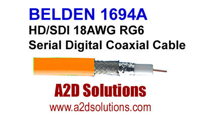 Belden 1694A  003-1000 HD/SDI 18AWG RG6  Digital Coaxial Cable ORANGE 1,000 feet
