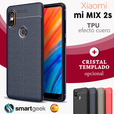FUNDA TPU Gel para XIAOMI MI MIX 2S efecto cuero carbon rugged case leather