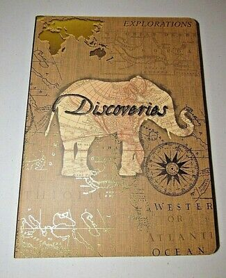 Punch Studio Tan Discoveries Travel Map Linen Texture Journal