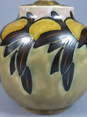 Doulton Lambeth Arts & Crafts ~ Art Deco Oranges And Leaves Lamp Base Jane Hurst