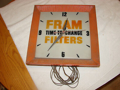 Vintage Fram Filters Clock (Runs) Maybe 1960's