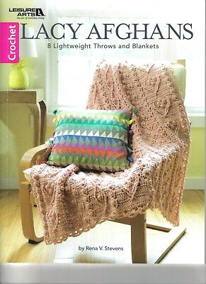 Lacy Afghans ~  Crochet Book  ~ 8 Lightweight Throws & Afghans Pattern Book ~ LA