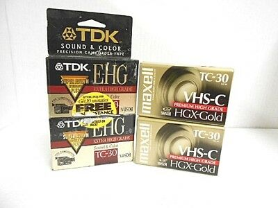 TDA MAXELL VHS C Tapes high grade TC 30 90 Minute Compact  4 tape lot