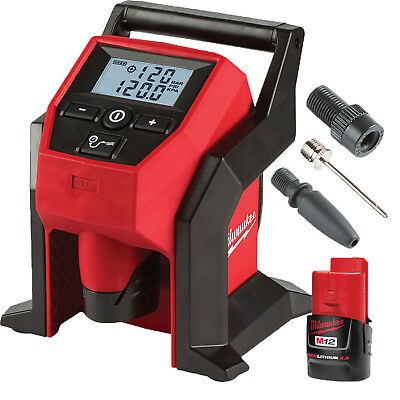 Milwaukee M12 Compact Automatic Tire Inflator 5-120 PSI w/ 1) Battery #2475-20P