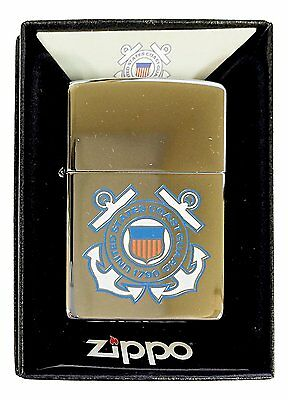 Zippo Custom Lighter United States Coast Guard High Polished Chrome Pocket New