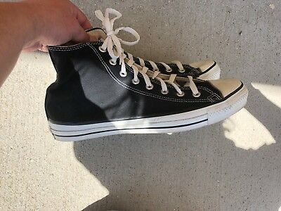 Vintage 1980S Black Made In Usa Converse High Tops Shoes Men's Size 11