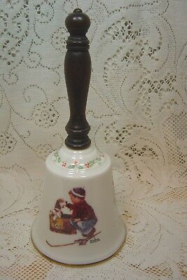 """Gorham Norman Rockwell China Bell Wood Handle """"a Boy Meets His Dog"""" 1979"""