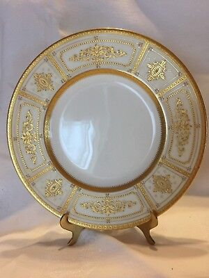 VTG TIFFANY & Co MINTONS CHINA LUNCHEON PLATE~WHITE W/ GOLD ENCRUSTED BEADING