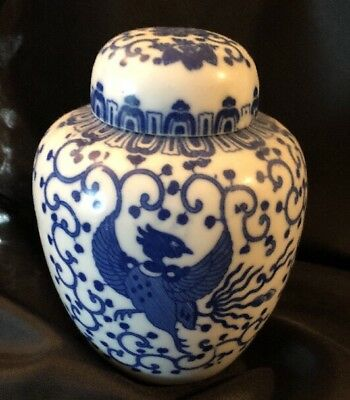 Vintage Blue & White Chinese Porcelain Tea Jar, With Lid & Cup