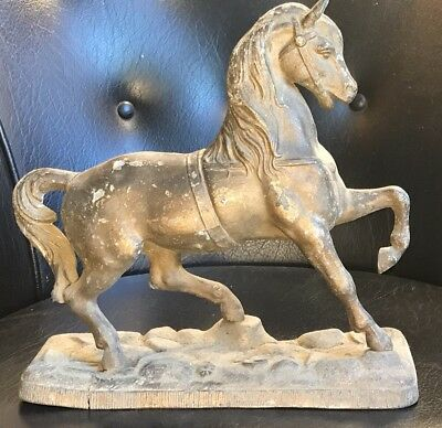 Antique Spelter Horse Clock Topper Beautiful! Nice Patina