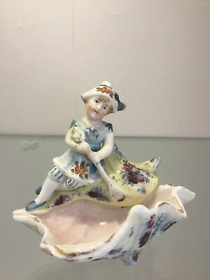 Collectible Antique CONTA & BOEHME VICTORIAN Figurine Lady Seaside Shell Rare