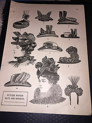 1896 Delineator Magazine Article About Womans Stylish Winter Hats And Bonnets