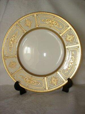 VINTAGE TIFFANY & Co MINTON CHINA LUNCHEON PLATE WHITE W/ GOLD ENCRUSTED BEADING