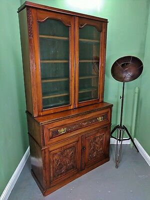 An Antique Victorian Mahogany Secretaire Bookcase Desk ~Delivery Available~