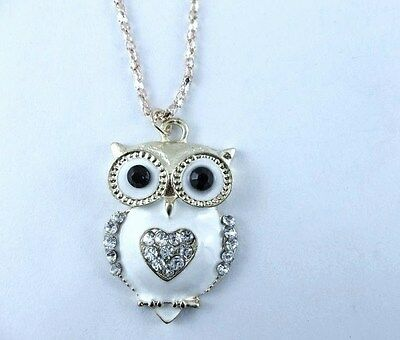 Pendentif Hibou coeur strass + Chaine ! NEUF