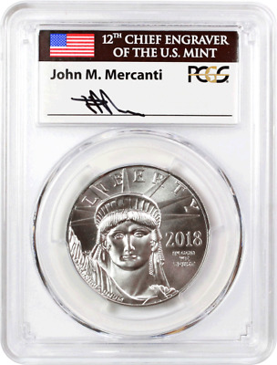 2018 $100 Platinum Eagle Statue of Liberty PCGS MS70 First Strike Mercanti