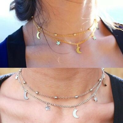 UK Moon And Star Silver Gold Necklace Chain Jewellery Pendant Girls Women Choker