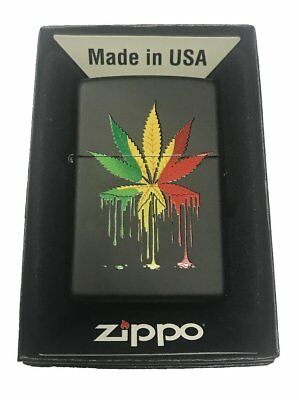 Zippo Custom Lighter Drippy Rasta Marijuana Weed Pot Leaf Design New Gift USA