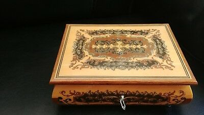 VTG REUGE Swiss Music Jewelry Box Marquetry Inlaid Wood Italy Red