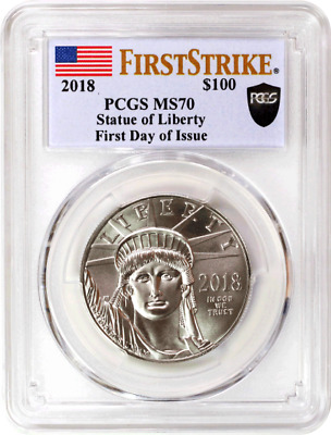 2018 $100 Platinum Eagle PCGS MS70 First Strike First Day of Issue Black Shield