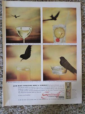 1960 Smirnoff The Greatest Name in Vodka How many Swallows Photo Magazine AD