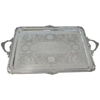 """Antique English, Victorian, Sterling Silver Footed Tray.  27.75"""" x 17.65"""""""