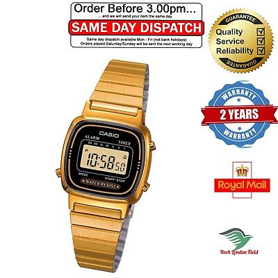 Casio Ladies Wrist Watch Black/Gold Dial Gold Band Strap Womens Classic Digital