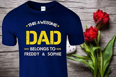 THIS AWESOME DAD BELONGS TO Mens T Shirt Personalised Fathers Day Gift T-Shirt