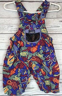 PATAGONIA Vintage Baby Toddler One Piece Overalls Sea Fish Multi Color Suit 12 M
