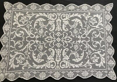 Beautiful Vintage Delicate Italian Runner Hand Made Embroidery on Knotted Netl