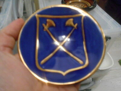 Vintage Jersey Pottery Blue & Gilt Axe Crest/Shield Dish