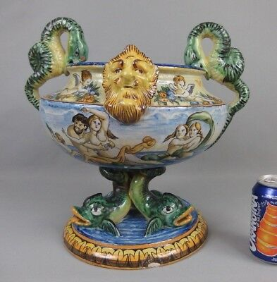 coupe / vase faïence majolique italienne XIXe antique italian majolica bowl 19th