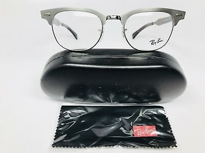 ▪️New Ray Ban RB 6295 2808 Brushed Gunmetal Clubmaster Eyeglasses 51mm with Case