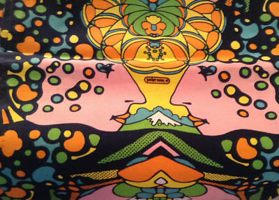 """Authentic 1970's Peter Max Twin """"FACES"""" Bedspread NEW, NEVER USED"""