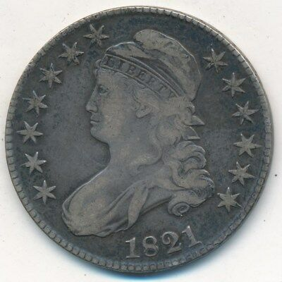 1821 Capped Bust Silver Half Dollar-Very Nice Circulated Half-Ships Free!