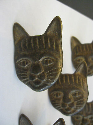 VINTAGE CAT Cabinet Knobs SET OF 8! Antique Brass Drawer Pulls KITTEN KITTY CATS
