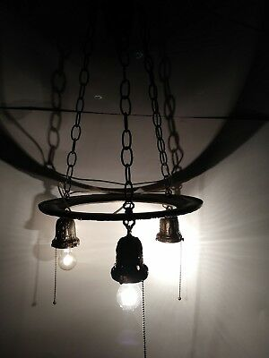 Awesome 3 Arm Cast Iron Art Deco Chandelier Antique Hanging Light Pull Chains