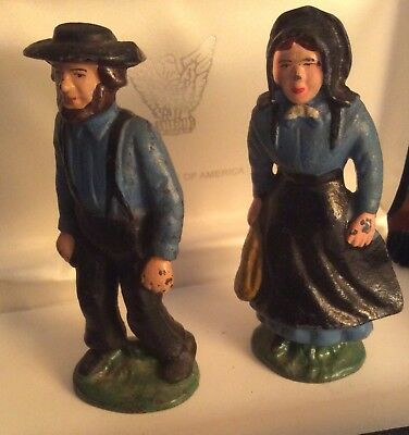 """Vintage Cast Iron Amish Pair Woman And Man 4-1/4""""  Heavy 1-3/4 Pounds GUC"""