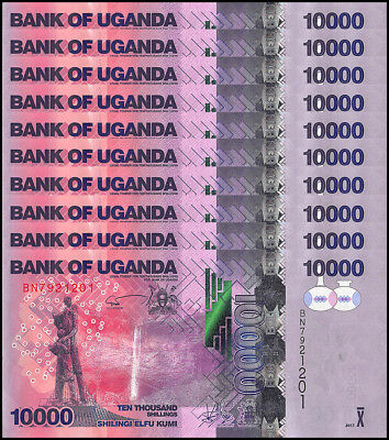 Uganda 10,000 (10000) Shillings X 10 Piece (PCS),2017,P-NEW,UNC,Waterfall,Statue