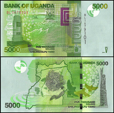 Uganda 5,000 - 5000 Shillings Banknote, 2017, P-51, UNC,Bird, Rwenzori Mountains