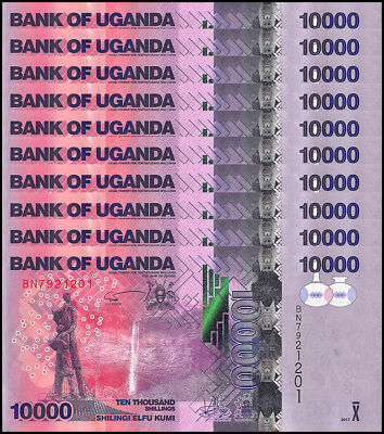 Uganda 10,000 - 10000 Shillings X 5 Pieces - PCS, 2017,P-52,UNC,Waterfall,Statue