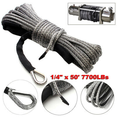 "1/4"" x 50' 7700LBs Synthetic Winch Line Cable Rope with Sheath ATV UTV Gray m"