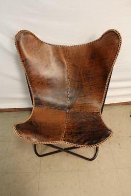NIB Leather Butterfly Chair Antique Brown By Horizon Interseas