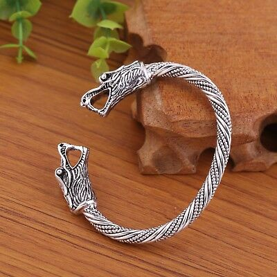Ancient Dragon Head Animal Irish Celtic Knot Cuff Amulet Bracelet for Men Women