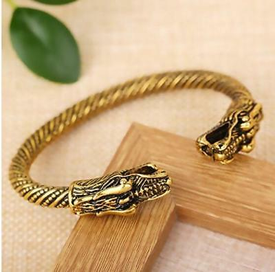 Ancient Amulet Dragon Head Animal Irish Celtic Knot Cuff Bracelet for Men Women