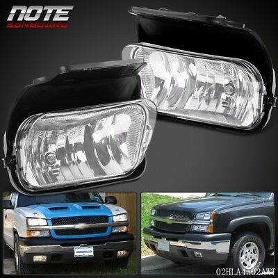 Clear Fog Lights Driving Bumper Lamp + Bulbs New For 03 - 06 Silverado Avalanche