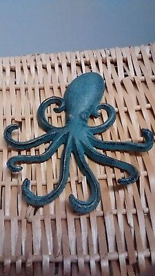 2  cast iron NAUTICAL OCTOPUS Towel Hanger, coats, hats or keys