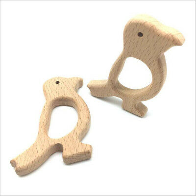 1pcs Natural wood Heart shape molar stick Safety Wooden Teether Baby Toy