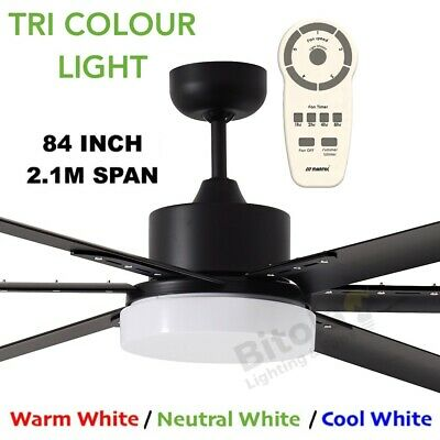 """New Martec Albatross Black 84"""" Large Dc Ceiling Fan With Dimmable 24W Led Light"""